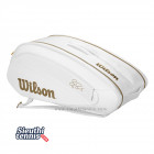 Túi tennis Wilson Federer DNA 12 Pack White/Gold