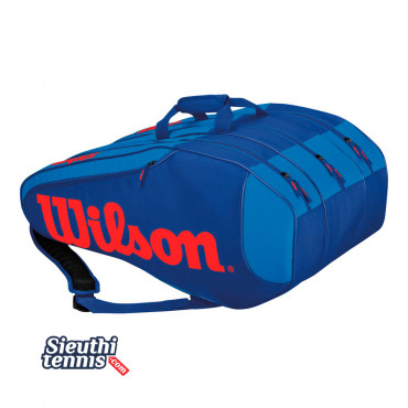 Túi Tennis Wilson BURN TEAM RUSH 12 Pack Blue/Red WRZ845612