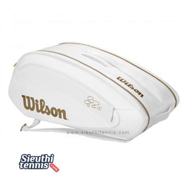 Túi tennis Wilson Federer DNA 12 Pack White/Gold