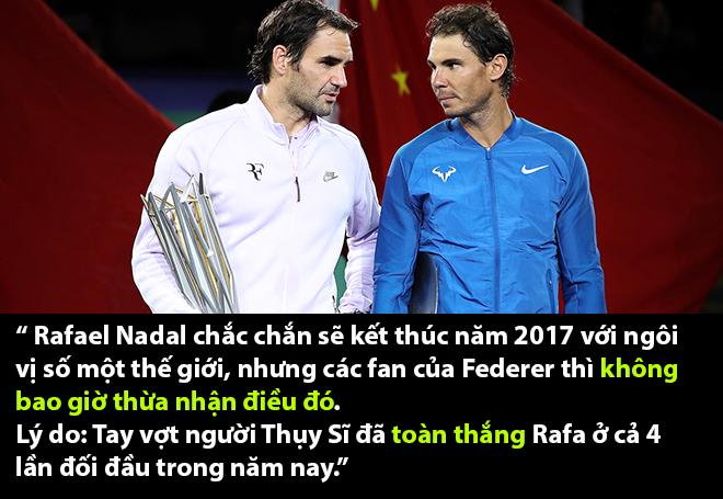 Nadal đối mặt với nguy cơ toàn thua Federer trong năm 2017